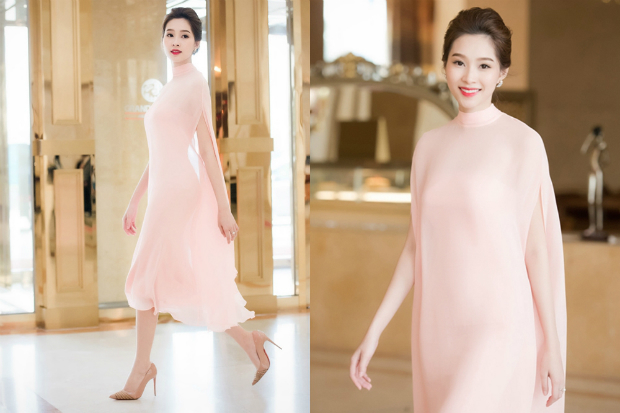 Wrapping herself in sheer pink dress by designer le Thanh Hoa, Dang Thu Thao gives out sense of fragility with the now-favoverd pink quartz tone