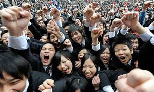 First day on the job for Japan's nervous new recruits