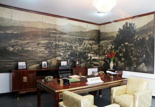 Office of Nguyen Cao Ky. According to the managing authorities of Independence Hall, the two rooms were restored to 1970s style and partly express the owner's characters based on the remaining objects and old photos.
