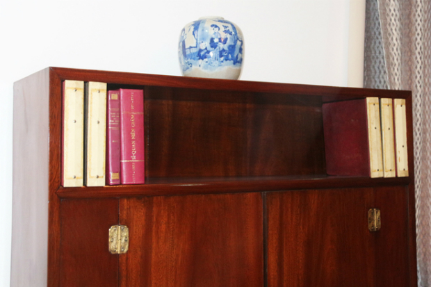 One of the two bookshelves in Nguyen Cao Kys office with most of the books being on history.