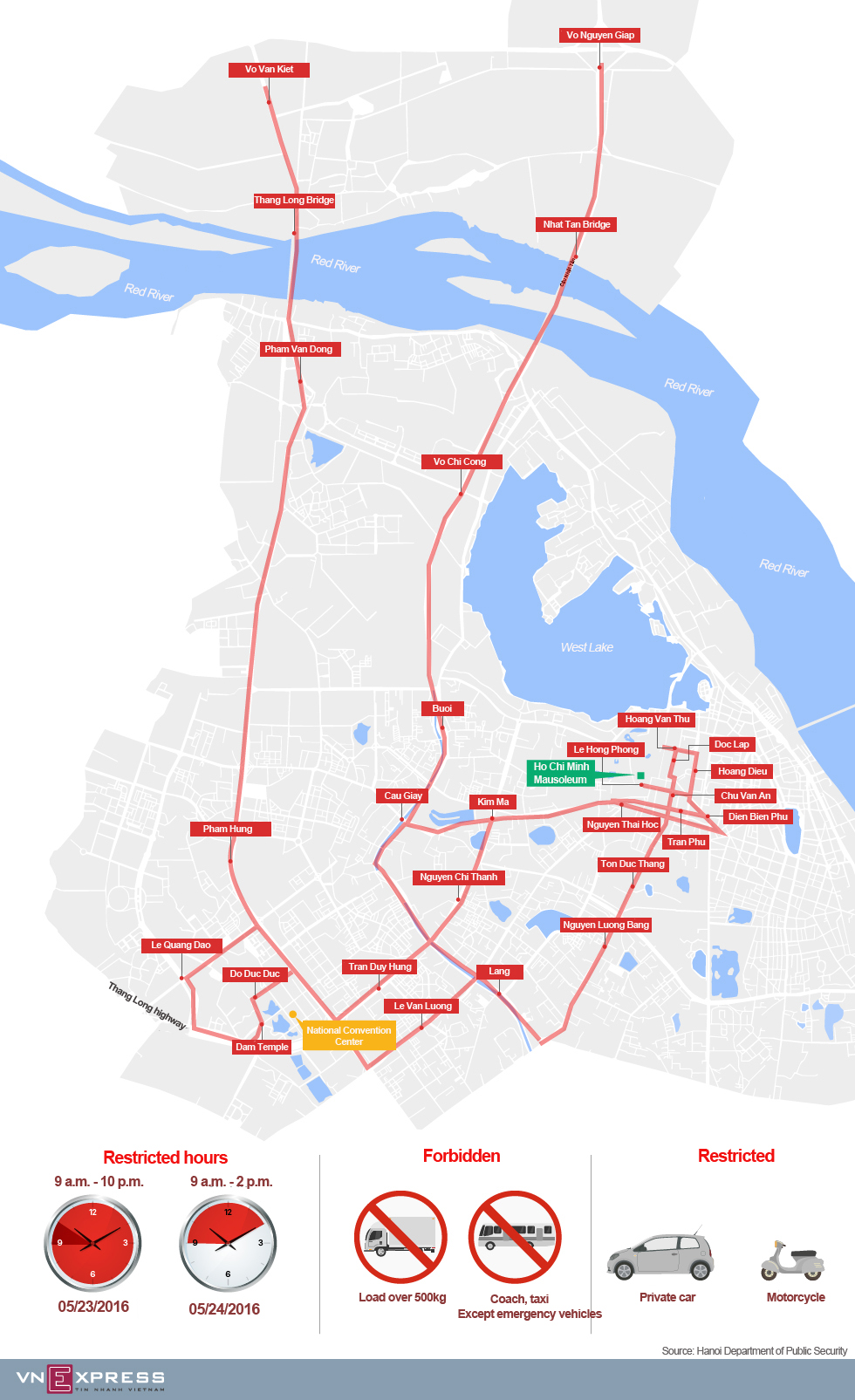 30 restricted streets in Hanoi during Obama's visit