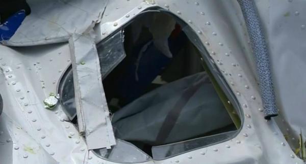 A broken window.