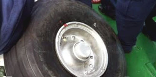 Tyre belonging to the crashed CASA-212. Photo by Vietnam People's Army