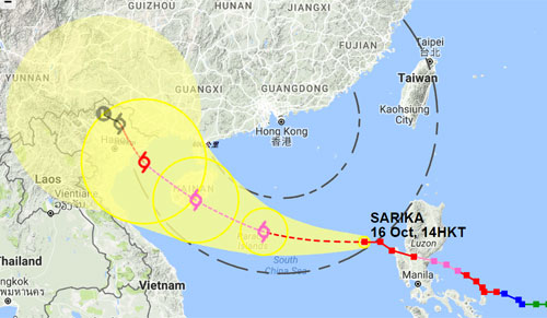 A forecasting image about typhoon Sakira from Hong Kong Observatory on October 16, 2016