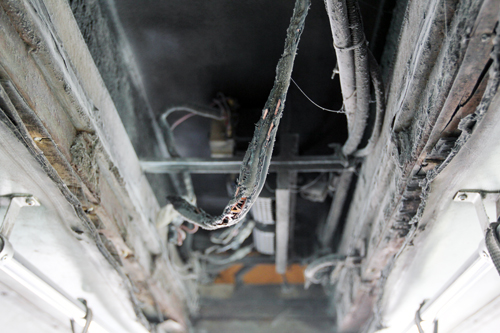 Fire on top of the bus on Truong Chinh Street. Photo by VnExpress/Tin Tin