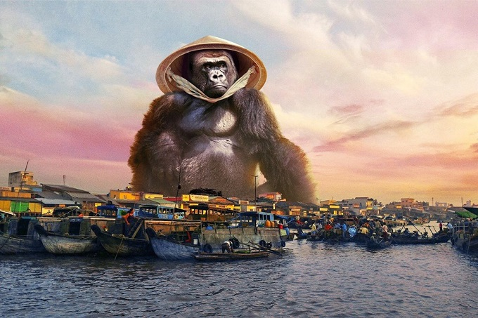 Kong by the Mekong River, with the conical hat.