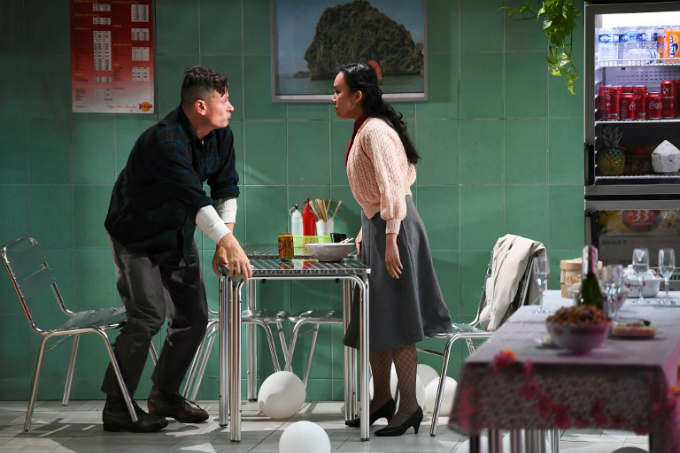 Dan Artus (L) and Phu Hau Nguyen as they perform during a rehearsal of the play Saigon directed by French director Caroline Guiela Nguyen at the gymnase du lycee Aubanel in Avignon during the 71st international theater festival. Photo by AFP/Anne-Christine Poujoulat