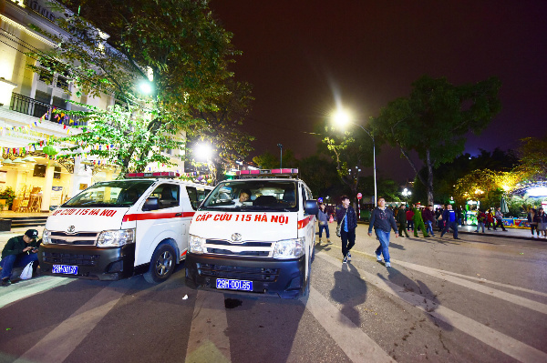 Ambulances are parked just outside the walking streets in case of emergency.