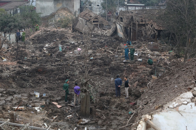 The site of the explosion in Quan Do Village, Bac Ninh Province on Wednesday morning. Photo by VnExpress.
