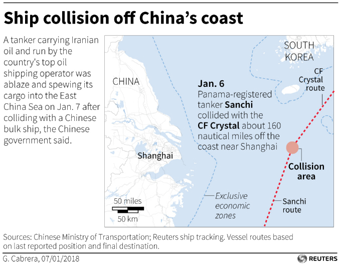 Map showing ship collision location.Graphic by Reuters.