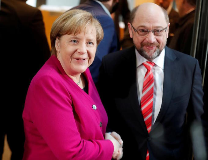 Merkel, Schulz vow 'new politics' for Germany in bid to form govt
