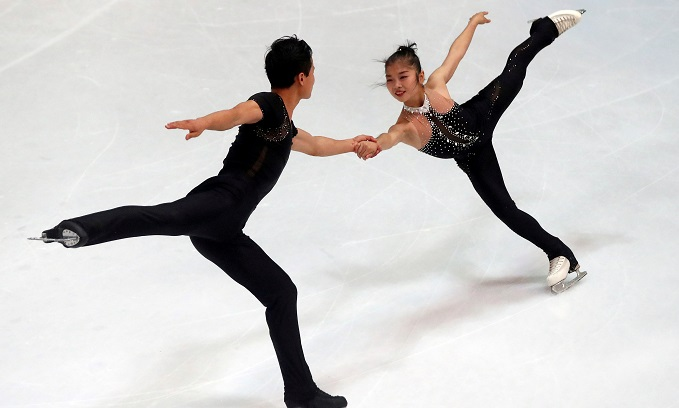Ryom Tae-Ok and Kim Ju-Sik of North Korea compete duringOlympic Qualifying ISU Challenger Series on pairs free Skating in Oberstdorf, Germany, onSeptember 29, 2017. Photo by Reuters/Michael Dalder
