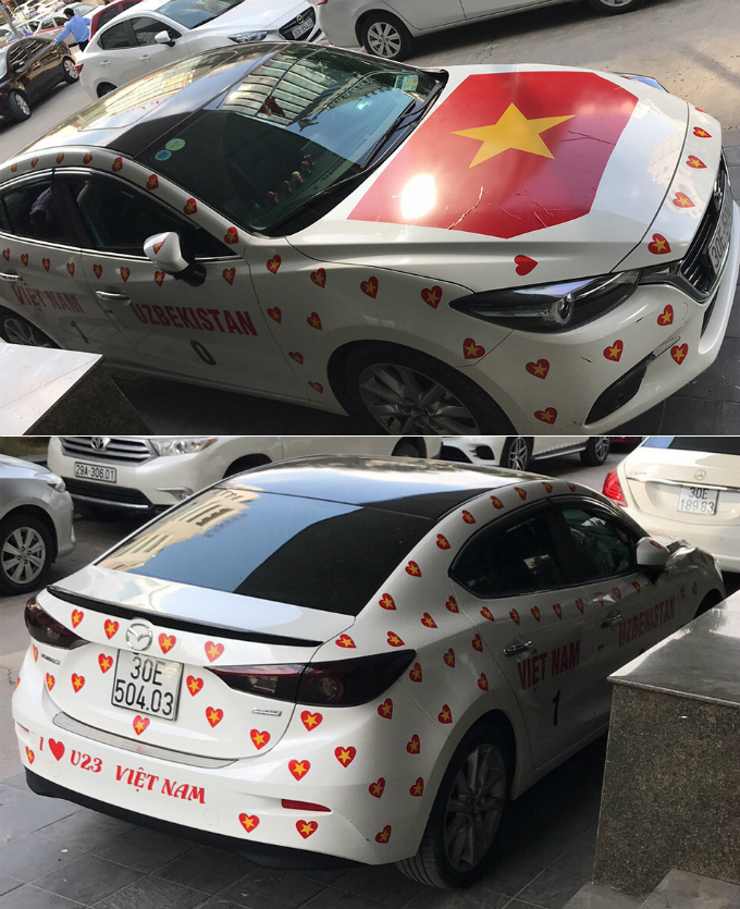 The owner of this car predicts that Vietnam wins Uzbekistan 1-0.