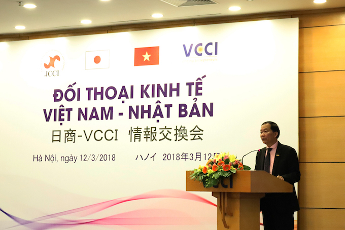 Hoang Quang Phong, vice president of the VCCI, speaks at the seminar. Photo courtesy of VCCI
