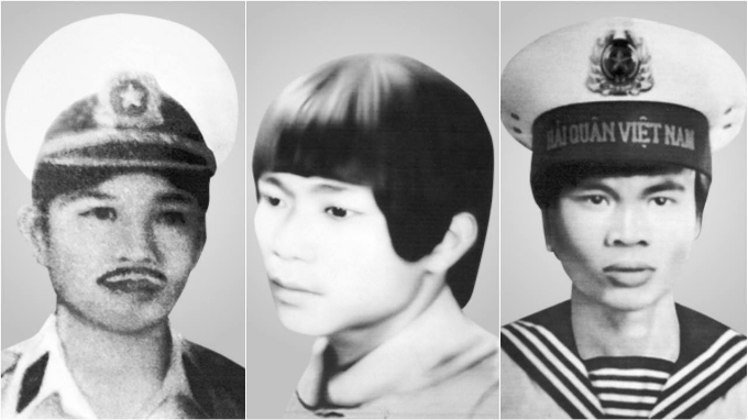 Family photos show Nguyen Van Hoa (L), Vo Van Duc (C) and Hoang Van Tuy, who are among 64 Vietnamese soldiers who died defending Spratly reefs from China in 1988.