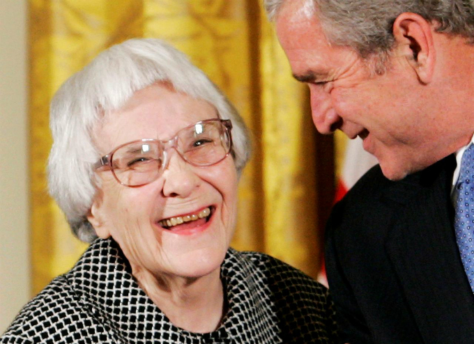 U.S. President George W. Bush (R) before awarding the Presidential Medal of Freedom to American novelist Harper Lee (L) in the East Room of the White House, in this November 5, 2007, file photo. Photo by Reuters/Larry Downing/Files