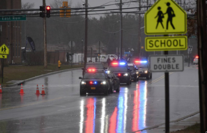 Law enforcement motorcade is seen near the Great Mills High School following a shooting on Tuesday morning in St. Marys County, Maryland, U.S., March 20, 2018. Photo by Reuters/Sait Serkan Gurbuz