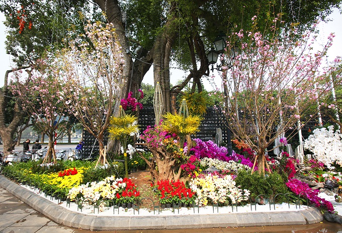 Capture of a finished flower setting facing Dinh Tien Hoang Street. Photo by VnExpress