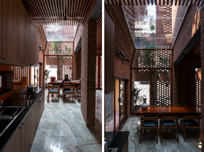 The dining room has a skylight roof. Photo by VnExpress/Nguyen Tien Thanh