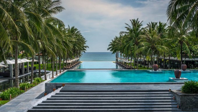 The swimming pool facing the sea at Four Seasons The Nam Hai in Hoi An. Photo courtesy of Four Seasons The Nam Hai