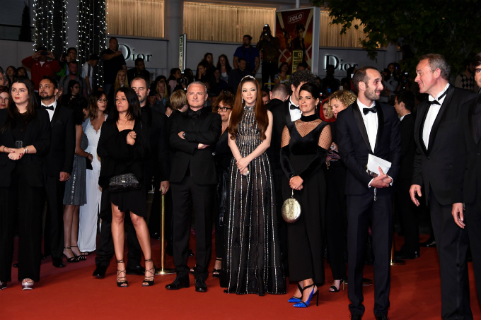 Ly Nha Ky and the Angel Face film crew attend the premiere of the film at Cannes.