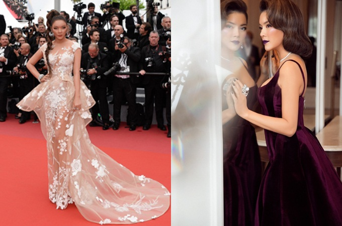 (L-R) Ly Nha Ky poses at Cannes in a nude dress by Vietnamese designer Hoang Ha and in a Lavender design by Do Long.