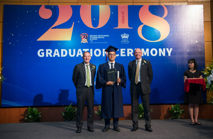 Mr.Mark Sayer, Principal of BVIS Hanoi, Mr. Nick Lee, Head of Secondary and Mr. Steph Lysaght, Deputy Head of Mission for the UK Embassy to Vietnam.