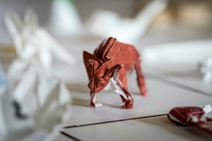 An origami made from chopstick sleeves owned by Yuki Tatsumi in Kameoka, Kyoto prefecture. Photo by AFP/Quentin Tyberghien