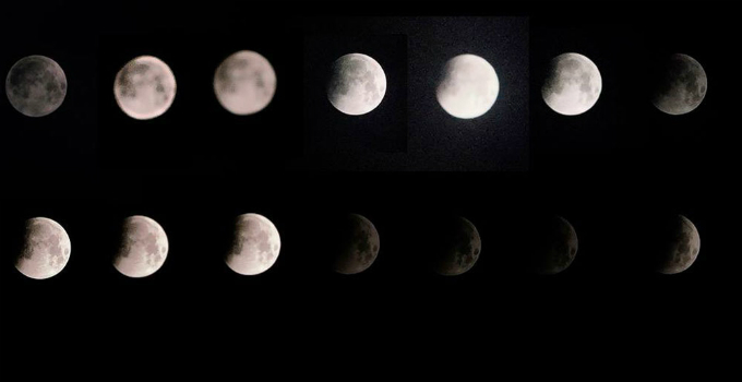 In some northern provinces including Dien Bien, images of the lunar eclipse are not beautiful as expected due to rainy and cloudy weather.  Photo by Thanh Huy