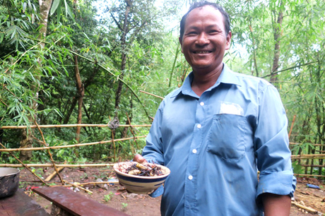 Mr. Mang Hanh, living in Phan Dung Commune, is specialized in spiders catching