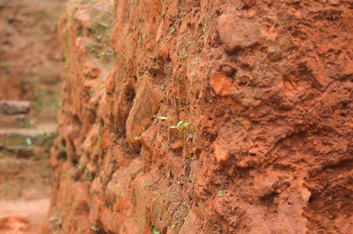 Ancient bricks, made from rammed brown red earth mixed with crushed brick powder. Photo: Da Nang News