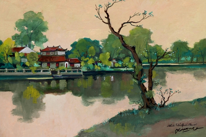 Pigment art depicts magical beauty of the fifties in Hanoi - 9