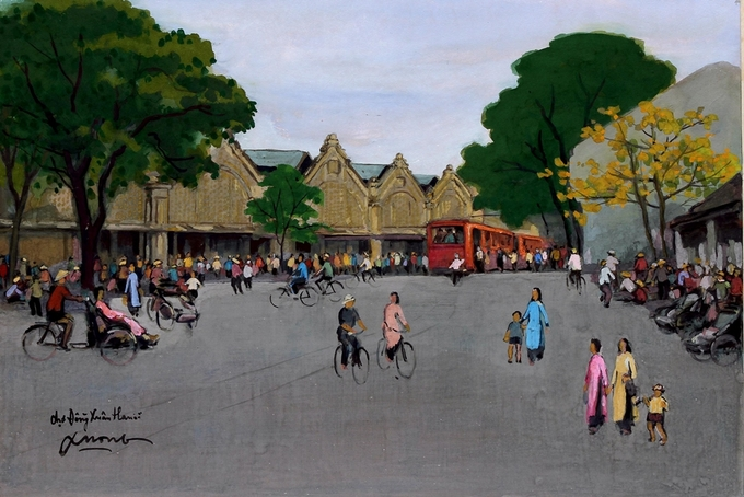 Pigment art depicts magical beauty of the fifties in Hanoi - 1