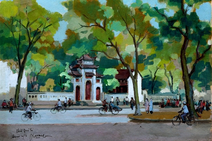 Pigment art depicts magical beauty of the fifties in Hanoi - 2