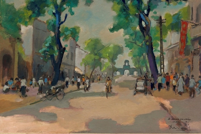 Pigment art depicts magical beauty of the fifties in Hanoi - 4