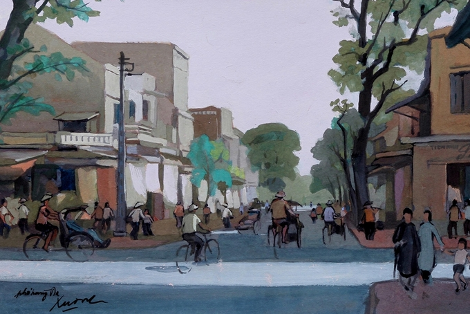 Pigment art depicts magical beauty of the fifties in Hanoi - 8