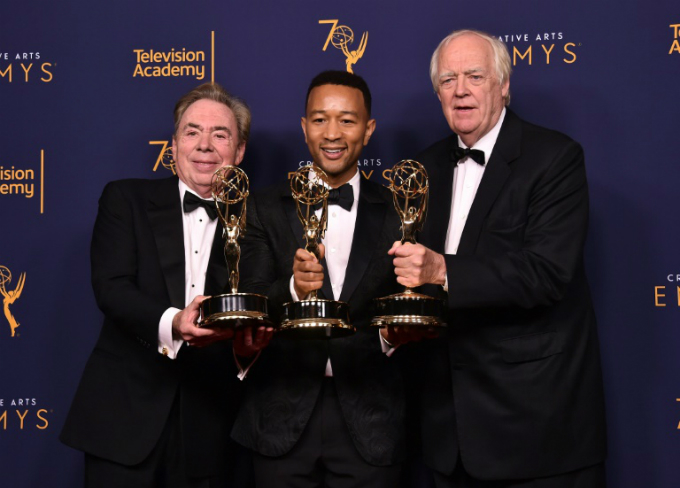 Andrew Lloyd Webber, John Legend and Tim Rice earned EGOT status with their Emmy win for Jesus Christ Superstar Live in Concert -- each now has an Emmy, Grammy, Oscar and Tony.