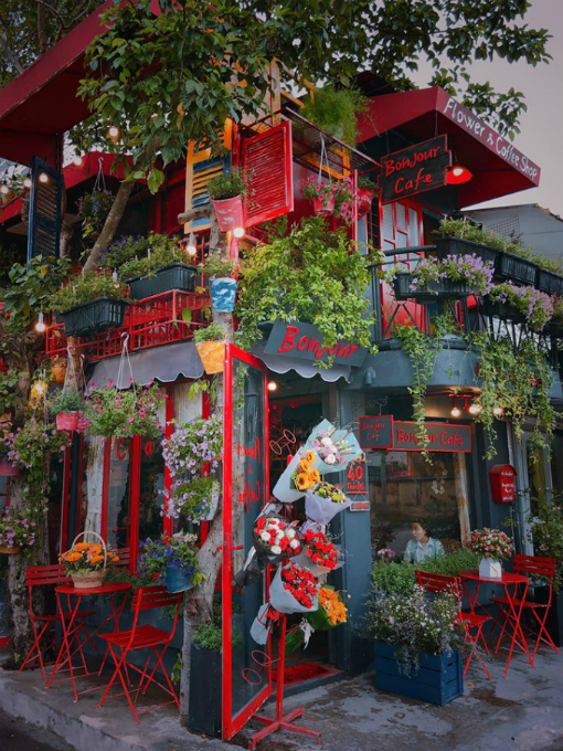 A romantic Paris style café in Saigon
