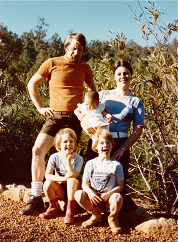 Sue Bylund with her adoptive parents and brothers in Australia. Photo by Sue Bylund