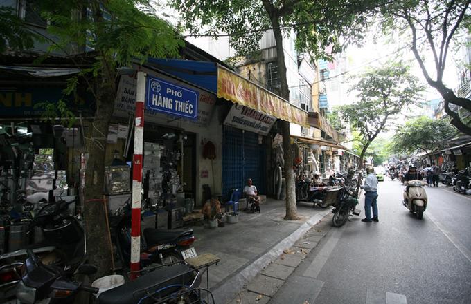 A tinned street in Hanois Old Quarter