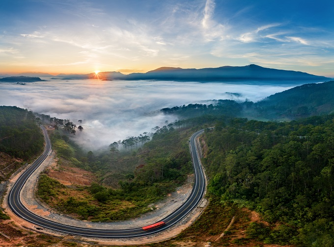 An aerial view of Provincial Route 723 at Long Lanh Pass in Lam Dong Province that connects the highlands town of Da Lat with the beach town Nha Trang. Photo by Shutterstock/Tonkinphotography