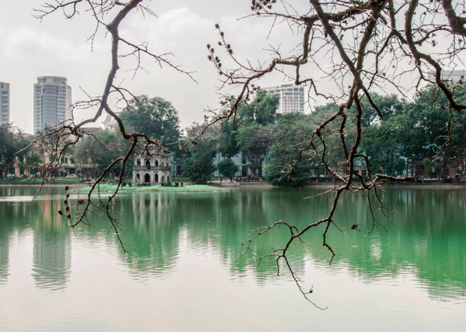 Turtle Tower (Thap Rua) standing on a small island near the center of Hoan Kiem Lake is one of Hanois tourist attractions. Photo by VnExpress/Quynh Trang