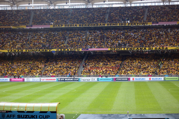 Malaysian fans fill up the stadium two hours after the game.
