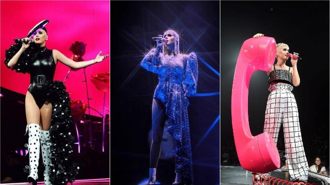 Three Cong Tri designs worn onstage by Katy Perry in her concert in Montreal, Quebec in September 2017. Photo acquired by VnExpress