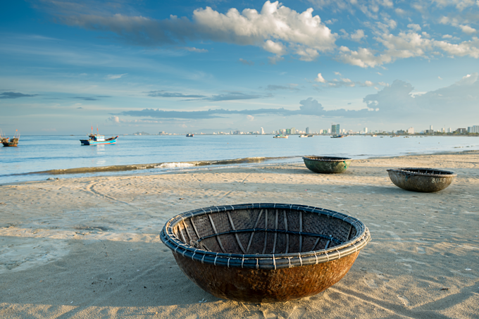Local basket boat in Non Nuoc Beach of Da Nang. Photo by Shutterstock/worradirek