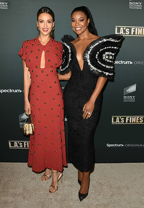 Gabrielle Union (R) appeared in the introduction event of her series LAs Finest.Photo courtesy of Cong Tri