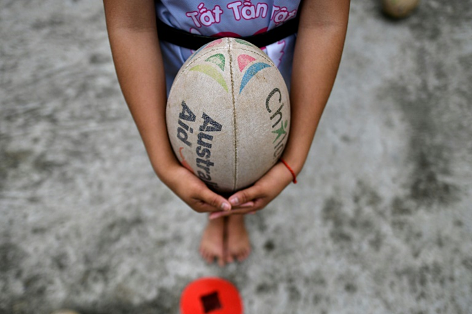 A rugby ball is an unusual sight in rural Vietnam. Photo by AFP/Manan Vatsyayana