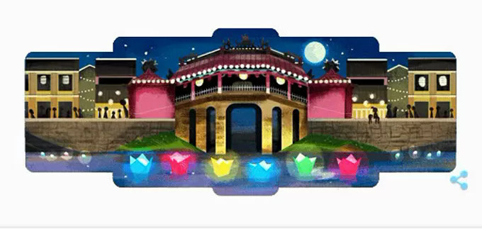 A screenshot from Google Doodle featuring Hoi An on its homepage, July 16, 2019.