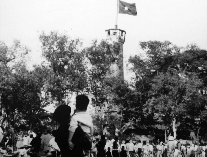 People rejoiced as the flag flew on the top the Flag Tower.