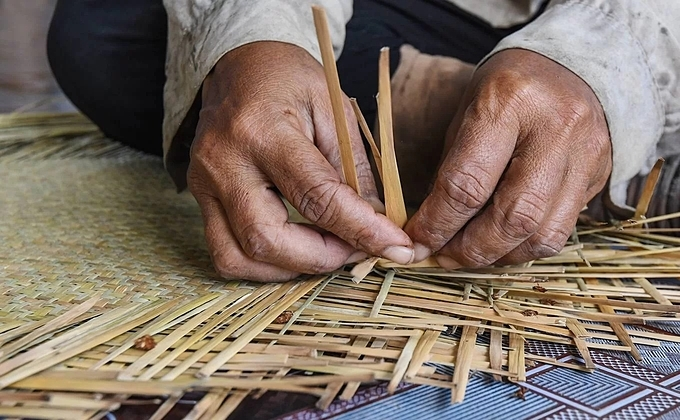 The compressed grass is used as material for local people to create household items. Ly Hoang Bao who is in charge of handicraft arts at Phu My Species - Habitat Conservation Area said people make about 200,000 pieces, earning several billion dong each year (VND 1 billion = 43,082).